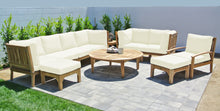 "11 pc Huntington Teak Deep Seating Set with 52"" Chat Table. Sunbrella Cushion."