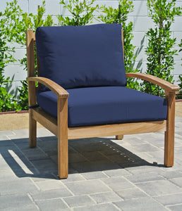 Huntington Teak Outdoor Club Chair. Sunbrella Cushion