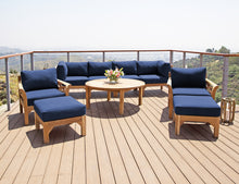 "10 pc Monterey Teak Seating Group with 52"" Chat Table. Sunbrella Cushion."