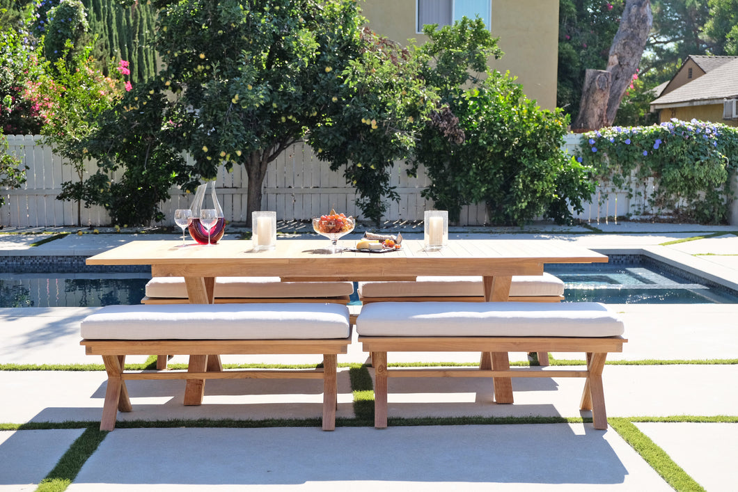 5 pc Newport Teak Bench Dining Set with Expansion Table. Sunbrella Cushion.