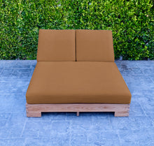 Pacific Teak Outdoor Double Chaise Lounger. Sunbrella Cushion.