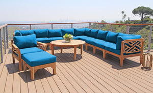 "12 pc Monterey Teak Sectional Seating Group with 52"" Chat Table. Sunbrella Cushion."