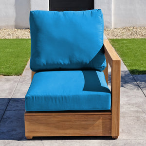 Chatsworth Teak Outdoor Right Arm Chair. Sunbrella Cushion