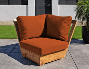 Chatsworth Teak Outdoor Corner Chair. Sunbrella Cushion