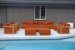 "10 pc Hermosa Teak Deep Seating Deluxe Sofa with 72"" Coffee Table. Sunbrella Cushion"