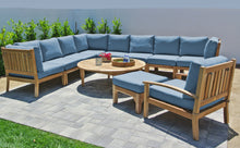 "11 pc Huntington Teak Sectional Seating Group with 52"" Chat Table. Sunbrella Cushion."