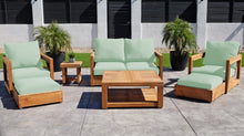 7 pc Chatsworth Loveseat Teak Deep Seating with Coffee Table. Sunbrella Cushion