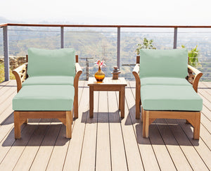 5pc Monterey Teak Club Chair Chat Group. Sunbrella Cushion.