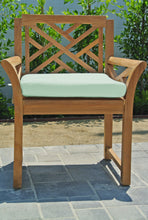 Monterey Teak Outdoor Dining Arm Chair. Sunbrella Cushion.