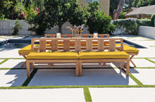 7pc Newport Teak Bench Dining Set with Expansion Dining Table