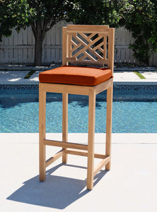 Monterey Outdoor Teak Armless Barstool. Sunbrella Cushion.