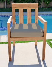 Chatsworth Teak Outdoor Dining Arm Chair. Sunbrella Cushion.