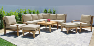 "10 pc Huntington Teak Sectional Seating Group with 36"" Chat Table. Sunbrella Cushion."