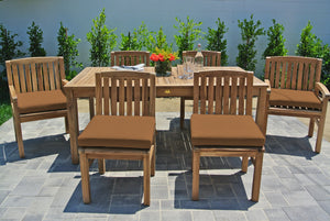 "7 pc Huntington Teak Dining Set with 72"" Rectangle Dining Table. Sunbrella Cushion."