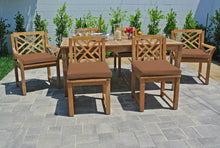 "7 pc Monterey Teak Dining Set with 72"" Rectangle Dining Table. Sunbrella Cushion."