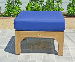 Huntington Outdoor Teak Ottoman. Sunbrella Cushion.