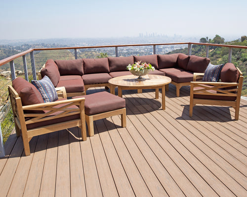 11 pc Monterey Teak Sectional Seating Group with 52