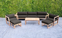 7 pc Venice Teak Deep Seating Deluxe Sofa with Coffee Table. Sunbrella Cushion.