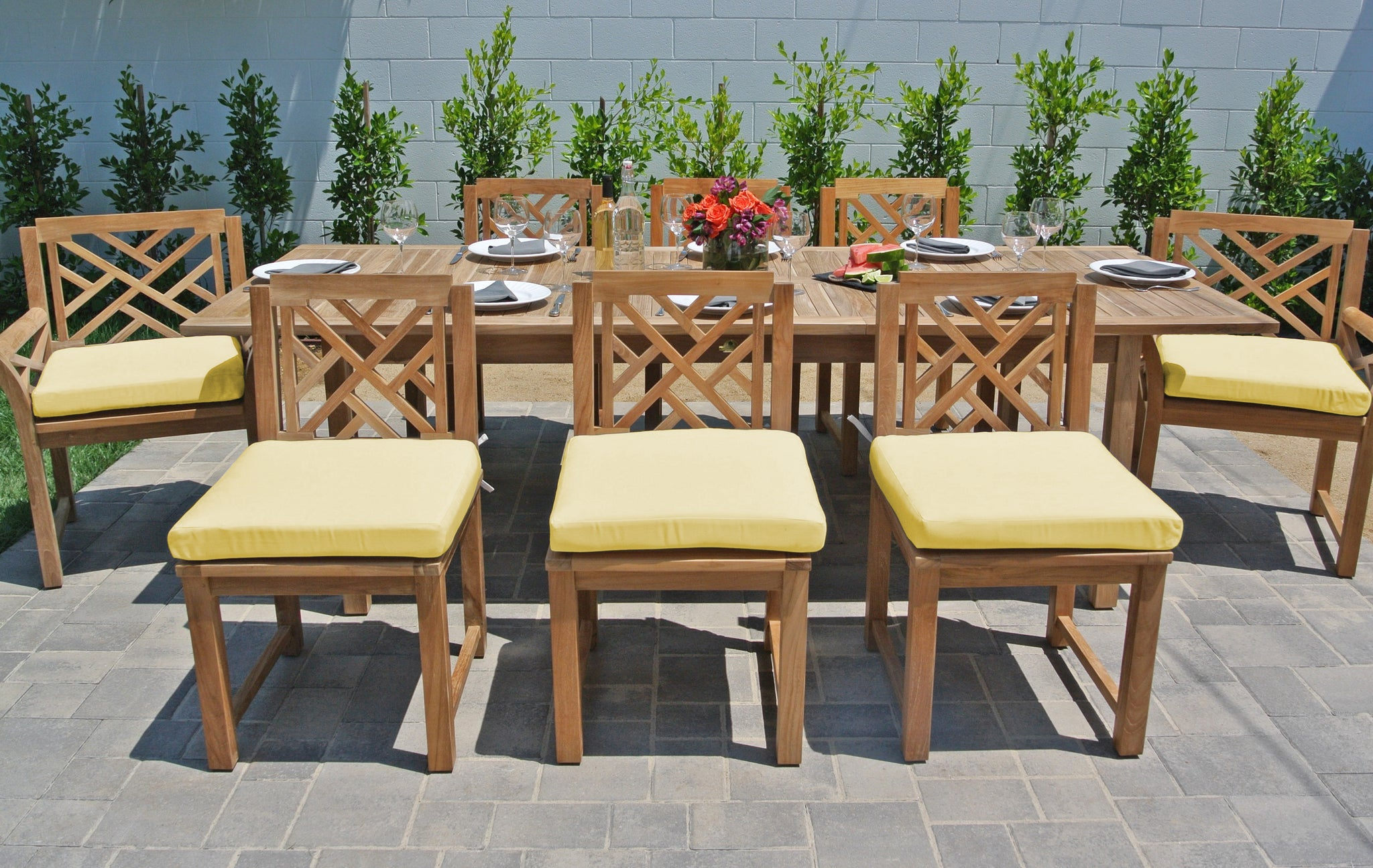 Teak Patio Furniture Outdoor Dining Set Expansion