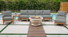 6 pc Huntington Teak Deluxe Sofa Deep Seating Group with Sonora Fire Bowl. Sunbrella Cushion