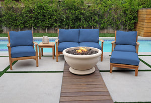 6 pc Huntington Teak Loveseat Deep Seating Group with Sonora Fire Bowl. Sunbrella Cushion