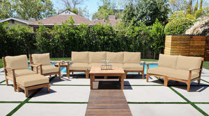 "7pc Huntington Teak Deep Seating Deluxe Sofa Set with 40"" Chat Table. Sunbrella Cushion."