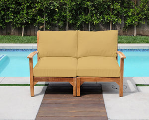 Huntington Teak Outdoor Loveseat. Sunbrella Cushion