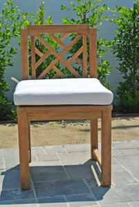 Teak Armless Dining Chair with Sunbrella Cushion