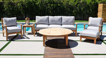 "6 pc Huntington Teak Outdoor Deep Seating Group with 52"" Chat Table. Sunbrella Cushion"