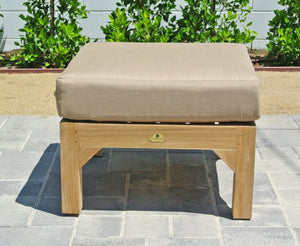 Teak Outdoor Ottoman with Sunbrella Cushion