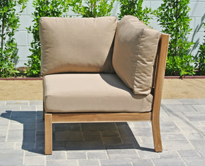 Teak Outdoor Corner Chair with Sunbrella Cushion