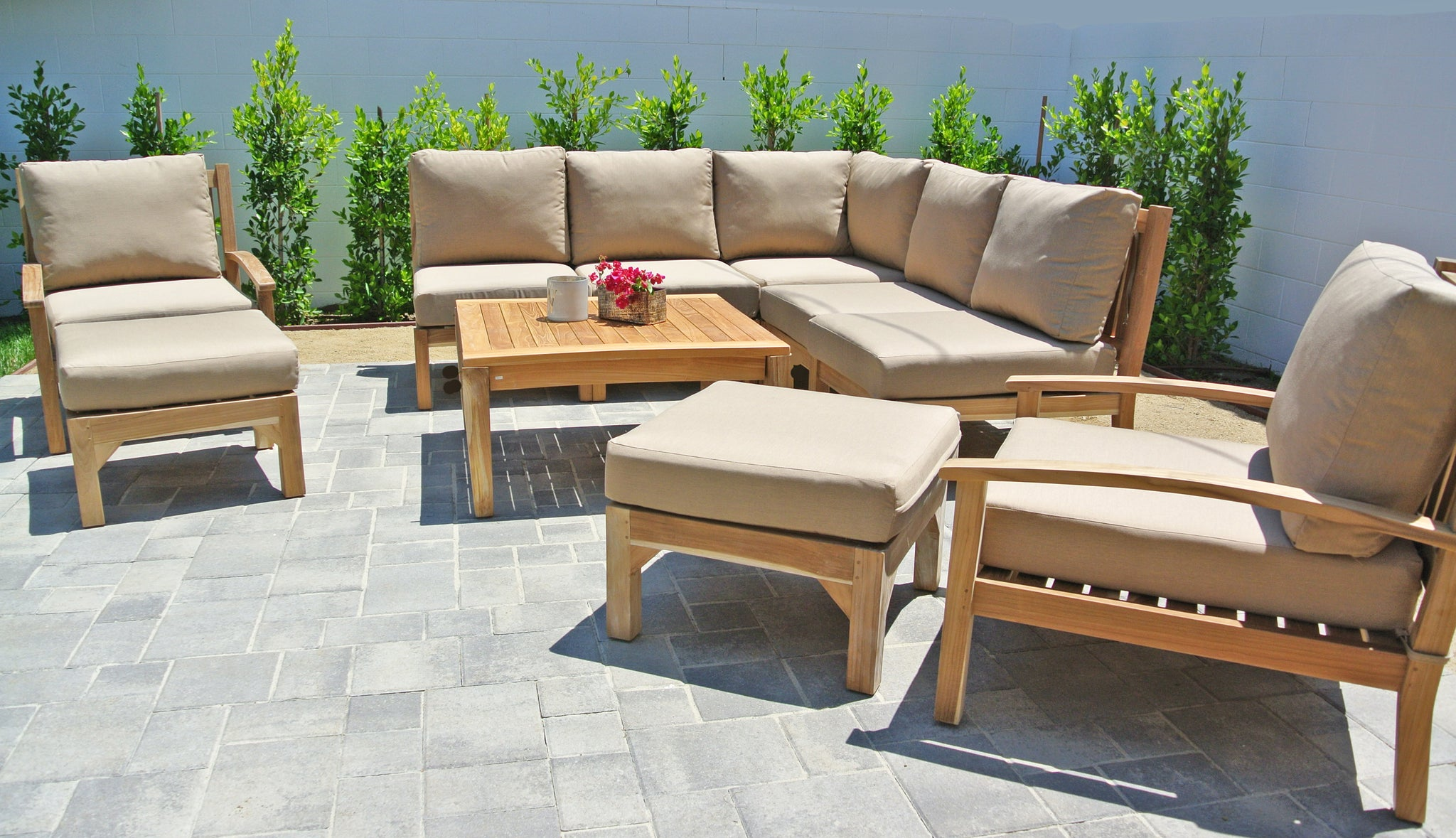 Teak Outdoor Sectional Seating Group ...