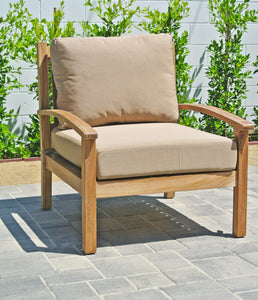 Outdoor Teak Patio Furniture Club Chair with Sunbrella Cushion