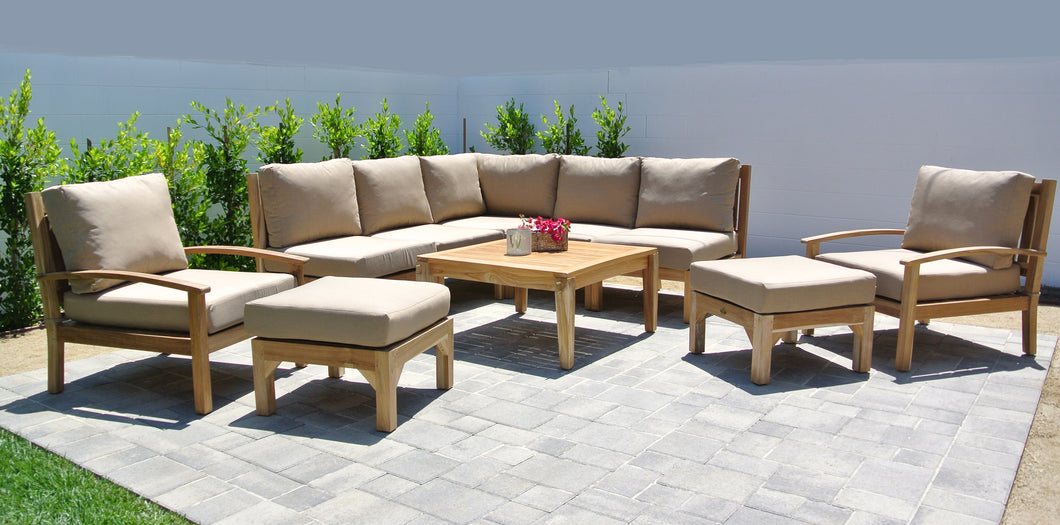 Outdoor Teak Patio Furniture Sectional with Sunbrella Cushion