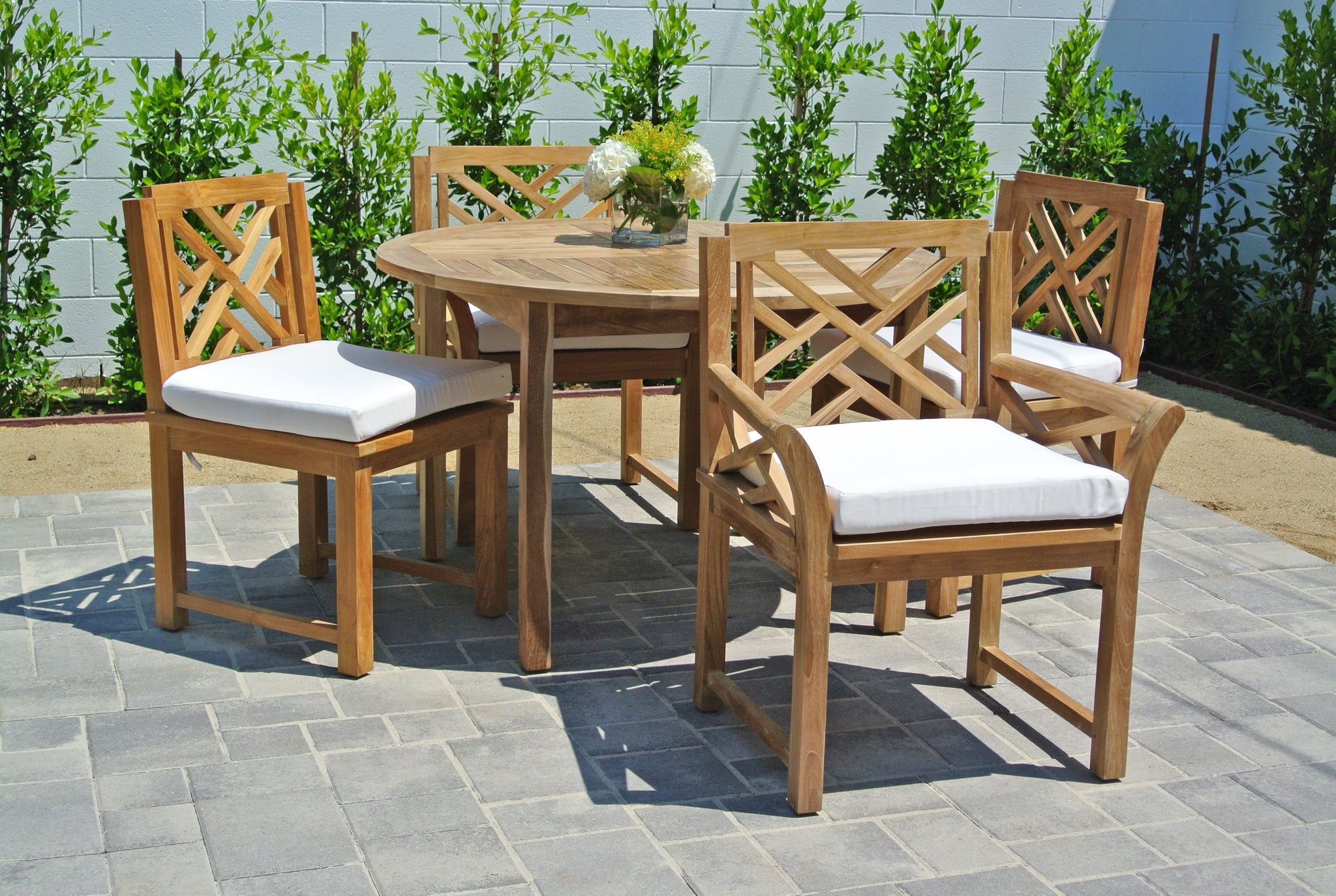 ... Teak Outdoor Patio Furniture Dining Set With Sunbrella Cushion ...