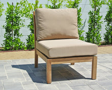 Teak Outdoor Armless Chair with Sunbrella Cushion