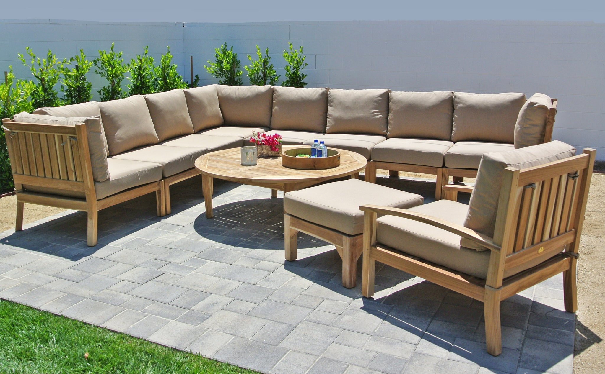 Teak Outdoor Patio Furniture Sectional With Sunbrella Cushion ...