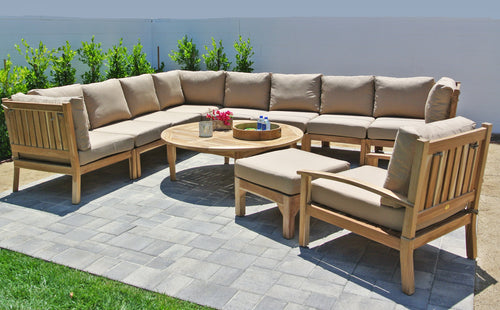 Teak Outdoor Patio Furniture Sectional with Sunbrella Cushion