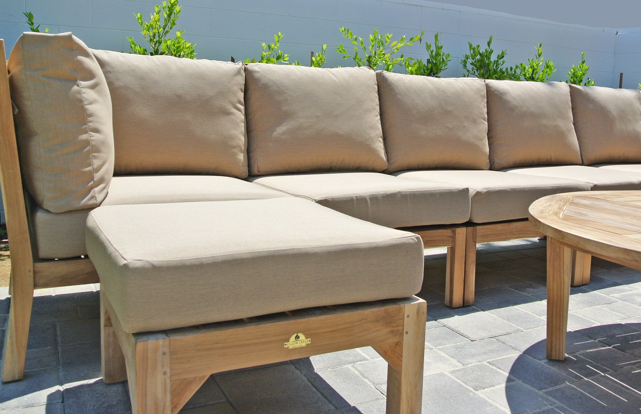 ... Outdoor Teak Deep Seating Sectional With Sunbrella Cushion ...