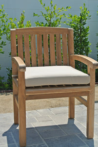 Grade A Teak Outdoor Armed Dining Chair with Sunbrella Cushion