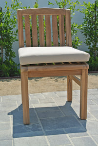 Grade A Teak Outdoor Armless Dining Chair with Sunbrella Cushion