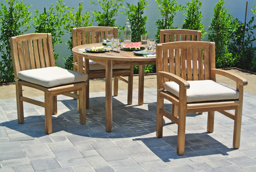 Teak Outdoor Patio Dining Set with Sunbrella Cushion