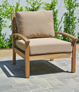 Teak Outdoor Club Chair with Sunbrella Cushion