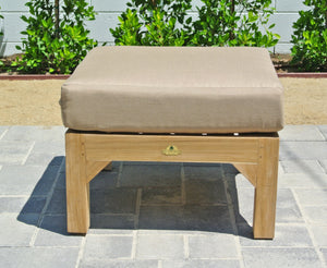 Teak Outdoor Ottoman with Sunbrella Fabric