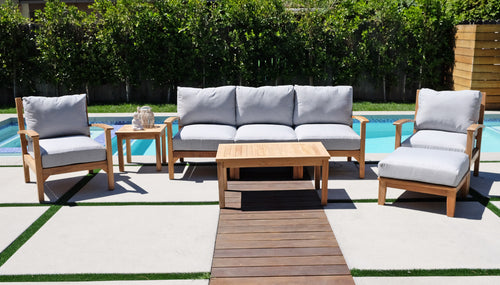 6 pc Huntington Teak Deep Seating Set with Coffee Table. Sunbrella Cushion.