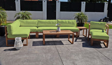 8 pc Venice Teak Outdoor Sectional Set with Coffee Table. Sunbrella Cushions