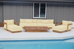 "8 pc Hermosa Teak Deep Seating Deluxe Sofa with 72"" Coffee Table. Sunbrella Cushion"
