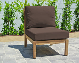 Huntington Teak Outdoor Armless Chair. Sunbrella Cushion