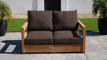 Chatsworth Teak Outdoor Loveseat. Sunbrella Cushion