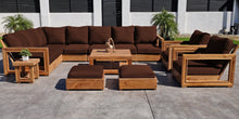 13 pc Chatsworth Teak Sectional with Coffee Table. Sunbrella Cushion